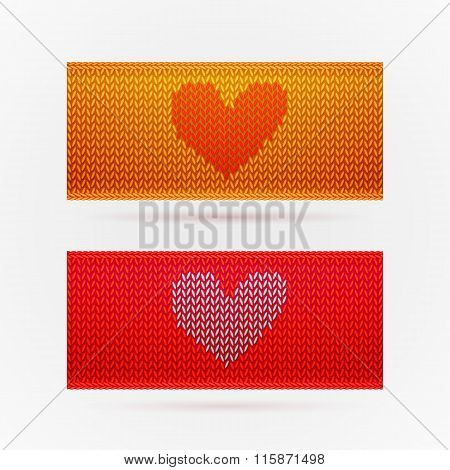 Knitted banners with Love