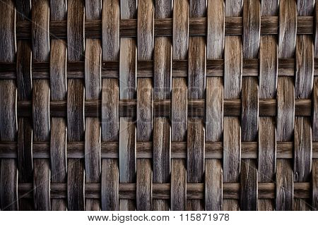 Dark Wooden Texture Of Rattan With Natural Patterns