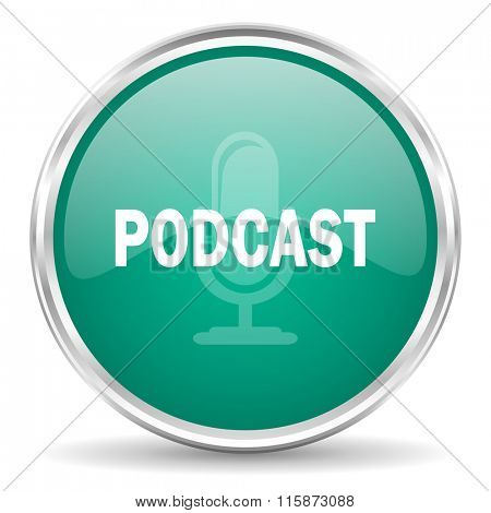 podcast blue glossy circle web icon