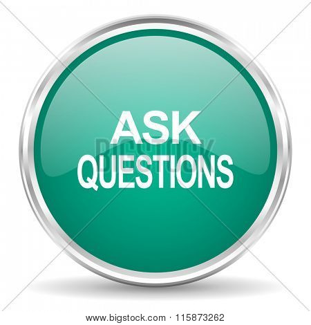 ask questions blue glossy circle web icon