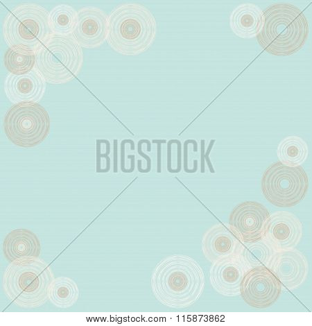 Vintage Frame Of Circles In The Form Of Stylized Gramophone Records On Pastel Mint Background