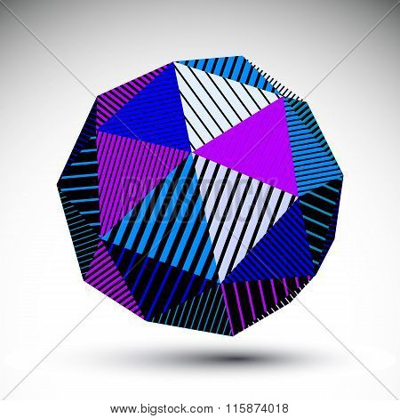 Symmetric Spherical Vector Technology Object With Parallel Lines, Futuristic Geometric Triangular St