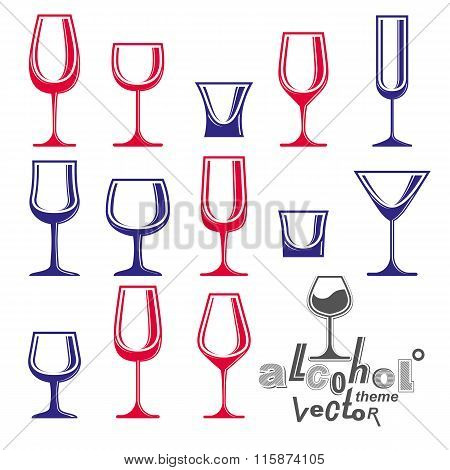 Classic Vector Goblets Collection, Martini, Wineglass, Cognac And Whiskey. Alcohol Theme