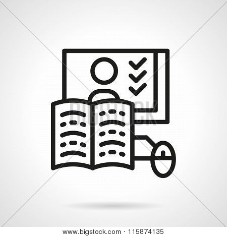 Online education line vector icon. Web lessons