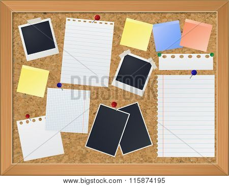 Bulletin Board With Photos And Paper Notes, Vector Eps10 Illustration