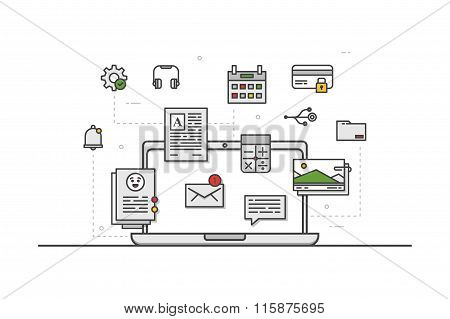 Web design icons. Line art. Stock vector.