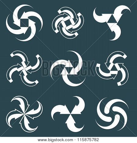 Looping Arrows Vector Abstract Symbol Collection, Single Color Conceptual Special Made 3D Icon Set.