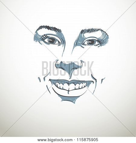 Facial Expression, Hand-drawn Illustration Of Face Of A Girl With Positive Emotional Expressions
