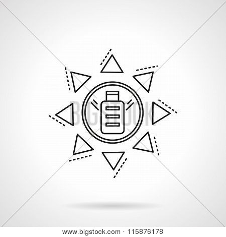 Saving energy flat line vector icon. Solar battery