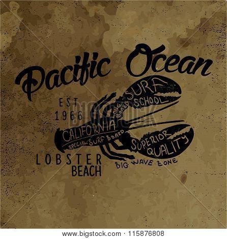 Vector Lobster Silhouette Print