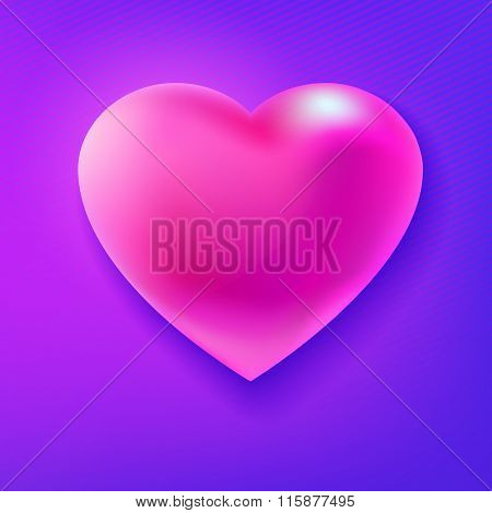 Pink glossy heart at purple background