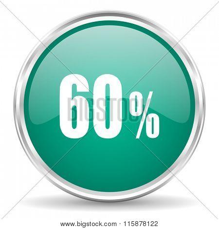 60 percent blue glossy circle web icon