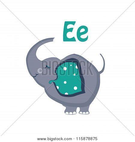 Elephant. Funny Alphabet, Animal Vector Illustration