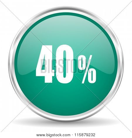 40 percent blue glossy circle web icon