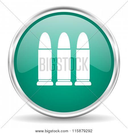 ammunition blue glossy circle web icon