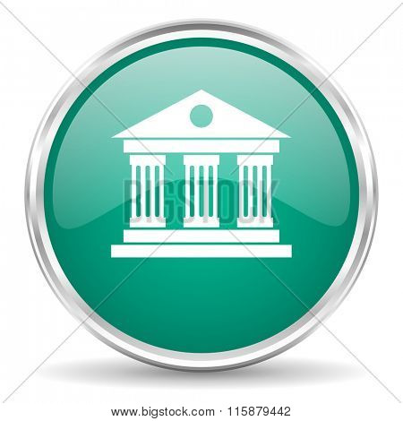 museum blue glossy circle web icon