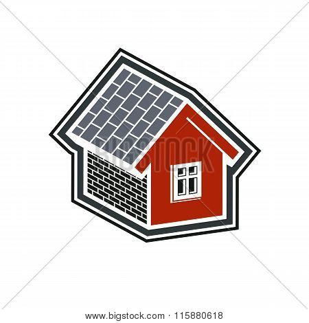 Simple Village Mansion Icon, Vector Abstract House. Country House, Conceptual Sign Best For Use In G