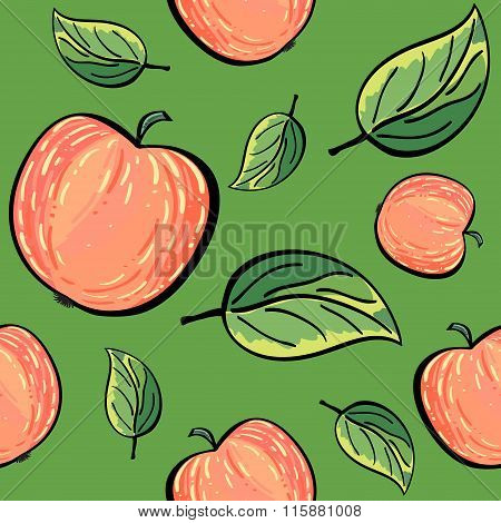 Red apples and apple leaves on green background.