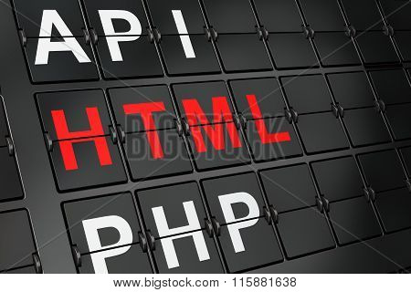 Database concept: Html on airport board background