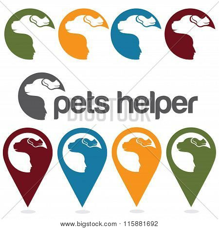 Pets Helper Vector Design Template ,pins And Web Icons Set