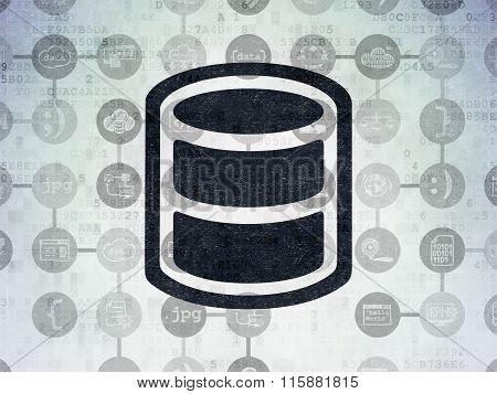 Programming concept: Database on Digital Paper background