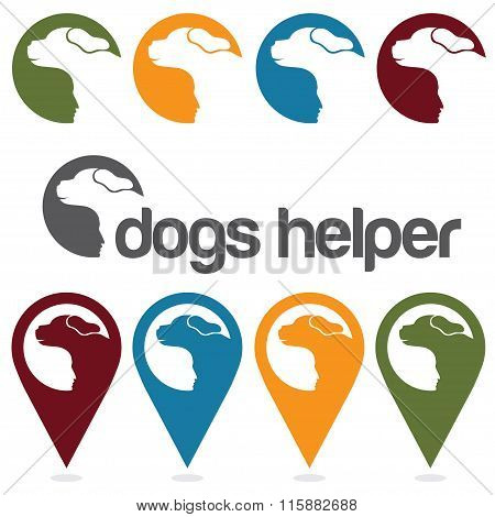 Dogs Helper Vector Design Template ,pins And Web Icons Set