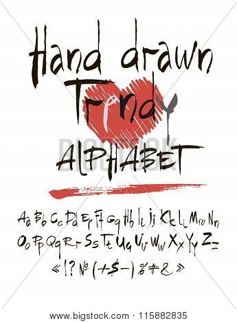 Vector Set Of Calligraphic Acrylic Or Ink Alphabet. White Background.
