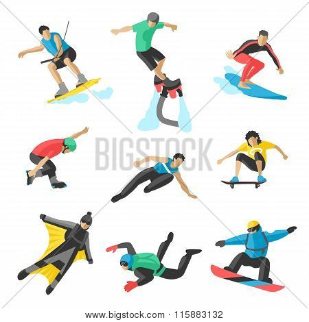 Extreme sport vector people. Parasailing, wakeboard, snowboard, rocker, snowboards, flybord, parkour
