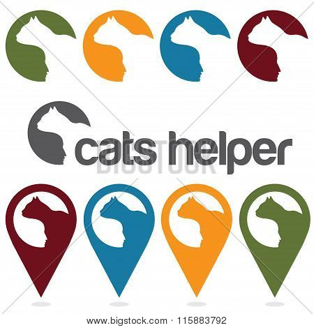Cats Helper Vector Design Template ,pins And Web Icons Set