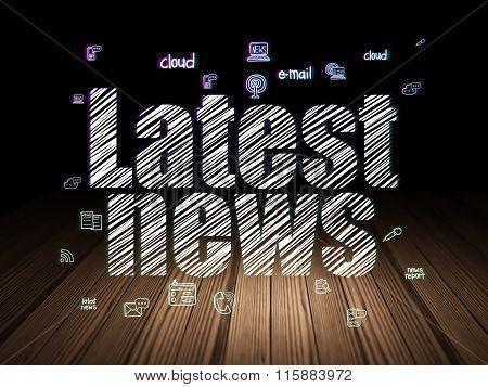 News concept: Latest News in grunge dark room