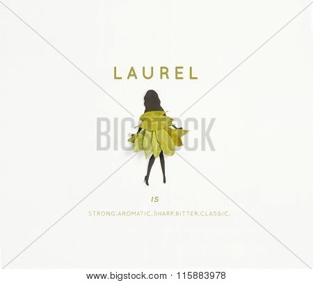 Meet Laurel ! A woman's silhouette wearing a dress of laurel leaves on white background.