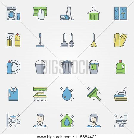 Cleaning colorful icons