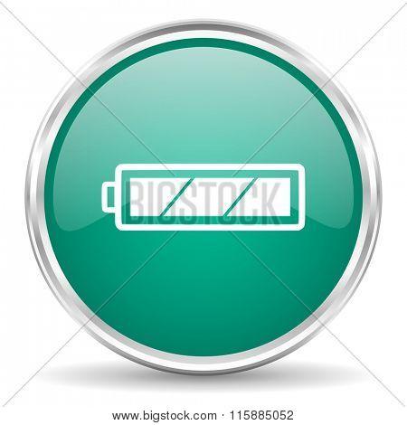battery blue glossy circle web icon