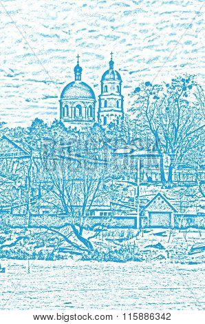 Art illustration.Winter landscape. Orthodox Church of St. Mary Magdalene Church.