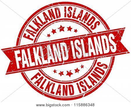 Falkland Islands red round grunge vintage ribbon stamp