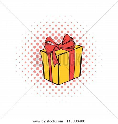 Yellow gift box with a red ribbon comics icon