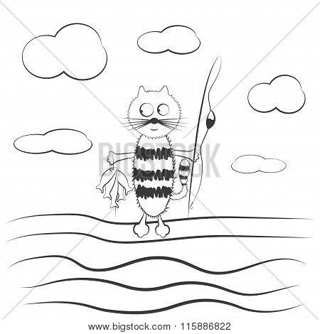 Cartoon Cat With Fishing Rod And Fish