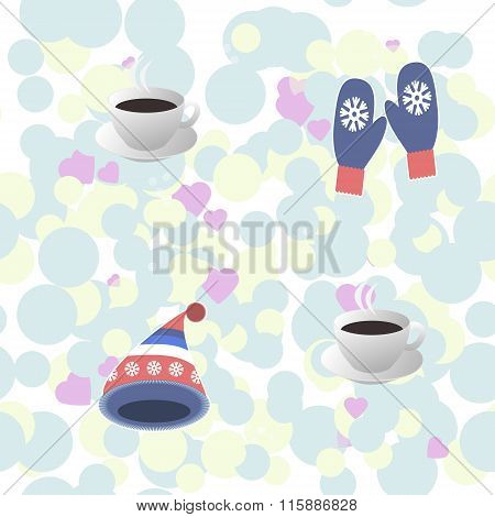Seamless Pattern - cup of hot coffee, warm knitted cap and mittens