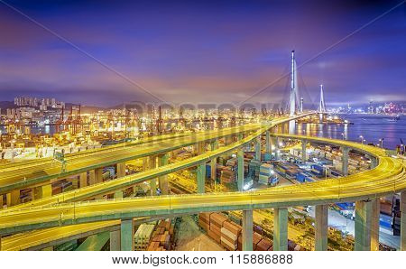 hong kong modern city Highway bridge traffic and blurred light trails