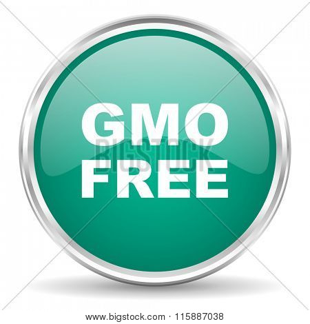 gmo free blue glossy circle web icon