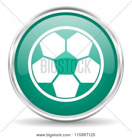 soccer blue glossy circle web icon