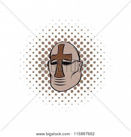 Crusader knight helmet comics icon