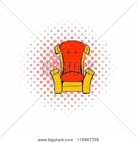 Red throne isometric comics icon