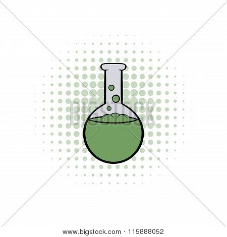 Flask with liquid comics icon