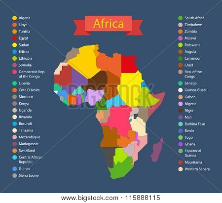 World map infographic template. Countries of Africa