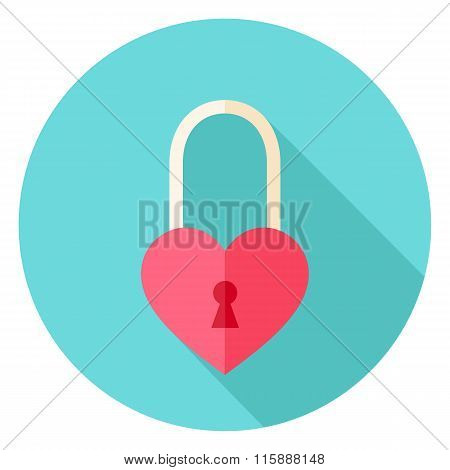 Heart Shaped Padlock Circle Icon