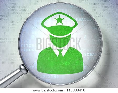 Protection concept: Police with optical glass on digital background