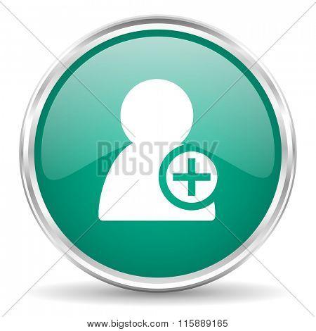 add contact blue glossy circle web icon
