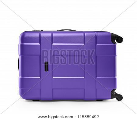 lilac suitcase plastic. lying on its side