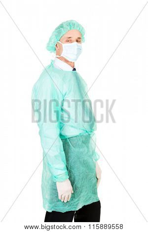 Male doctor with protective clothes